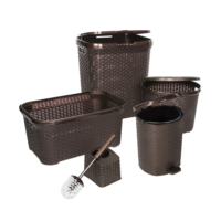 Modelüks 5'li Hasır Banyo Seti Kahve