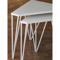 Metal Tasarım Zigon Sehpa Üçgen 2'li Set Beyaz