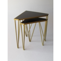 Metal Tasarım Zigon Sehpa Üçgen 2'li Set Gold