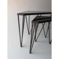 Metal Tasarım Zigon Sehpa Üçgen 2'li Set Siyah