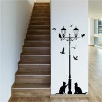 Street Lamp and Cats Duvar Sticker
