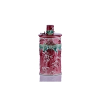 Kapağı Çiçekli Bordo Vazo