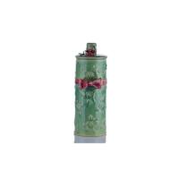 Kapağı Çiçekli Yeşil Vazo