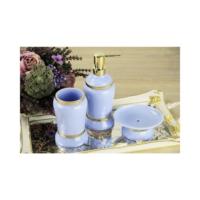 3Lü Mavi Banyo Seti Gold