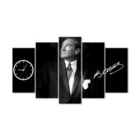 Evmanya Deco Atatürk 5 Parça Saatli Kanvas Tablo