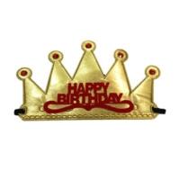 PartiStok Happy Birthday Kumaş Kraliçe Prenses Tacı Altın Renk