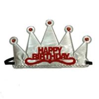 PartiStok Happy Birthday Kumaş Kraliçe Prenses Tacı Gümüş Renk