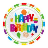 KullanAtMarket Renkli Doğum Günü Karton Tabak 23 cm