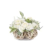 Primanova Dekoratif Çiçek Beyaz Gül Arajmanı Yuvarlak D-D70120