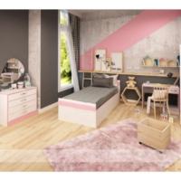 Hepsiburada Home Happy Genç Odası Seti (Pembe - Beyaz) Gardırop + Karyola + Masa + Kitaplık + Şifonyer