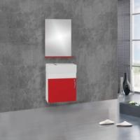 Hepsiburada Home Saydam Ebeveyn Slim 50 cm Mdf Banyo Dolabı Kırmızı Beyaz
