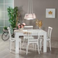 Mobetto Hanımeli Masa + 4 Adet Violet Sandalye - Beyaz