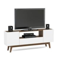 Rani A1 Tv Ünitesi Ahşap Ayaklı - 2 Kapaklı ve 1 Çekmeceli Tv Sehpası Beyaz Ceviz