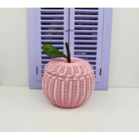 Cosıness Hasır Dekoratif Elmalı Sepet - Pembe