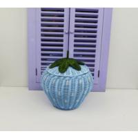 Cosıness Hasır Dekoratif Çilekli Sepet - Bebe Mavisi