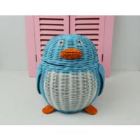 Cosıness Hasır Dekoratif Penguen Sepet - Mavi
