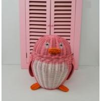 Cosıness Hasır Dekoratif Penguen Sepet - Pembe