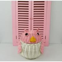 Cosıness Hasır Dekoratif Baykuş Sepet - Pembe