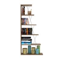 Rafevi Tars Mini Kitaplık Ceviz-Krom