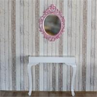 Te Home Lande Dresuar+Ayna Takımı Beyaz-Pembe