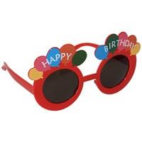 Pandoli Kırmızı Happy Birthday Parti Gözlüğü