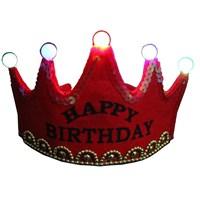 Pandoli Happy Birthday Parti Tacı Işıklı - Kırmızı