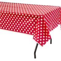Kırmızı Puanlı Masa Örtüsü
