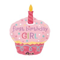 First Birthday Girl Cupcake Folyo Balon
