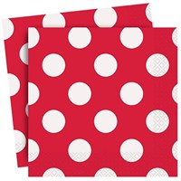 Kırmızı Puantiyeli Kağıt Peçete 16 Adet