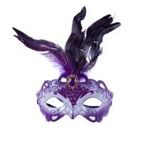 KullanAtMarket Mor Tüylü Balo Maskesi