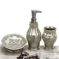 Mukko Home 3'lü Polyester Banyo Seti - Flora Gümüş