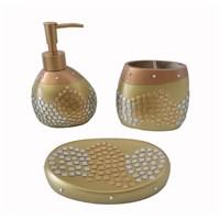 Bosphorus Altın Mozaik Poliresin 3''Lü Banyo Set