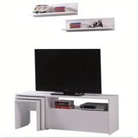 Carla Home Arena Raflı Zigonlu Beyaz Tv Ünitesi