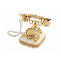 Anna Bell Ericsson Beyaz Altın Varaklı Telefon