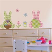 Modelce Tavşan Ve Yumurtalar Çocuk Odası Sticker ve 2 adet Priz Sticker