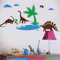 Modelce Dinazorlar Çocuk Odası Sticker ve 2 adet Priz Sticker