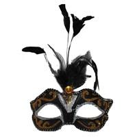 Pandolitüylü İşlemeli Sopalı Karnaval Maskesi