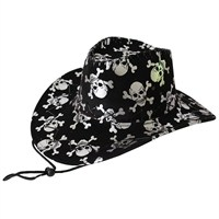 Pandoli Kuru Kafa Baskılı Bağcıklı Korsan Şapka