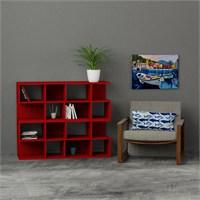 Decortie Aaron Corner Kitaplık 4Lü Set Kırmızı