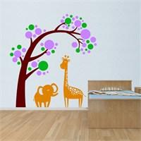 Modelce Fil Ve Zürafa Çocuk Odası Sticker ve 2 adet Priz Sticker
