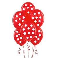 Partisepeti Kırmızı Üzerine Beyaz Puanlı Balon 15 Adet