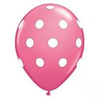 Partisepeti Fuşya Üzerine Beyaz Puanlı Balon