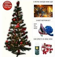 Kostümcüm Ağaç Set 120 cm (Ağaç Süsleri, Aydınlatma ve Parti Seti İle Birlikte!!!)