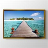 Pluscanvas - Maldives - Wooden Pathway Tablo