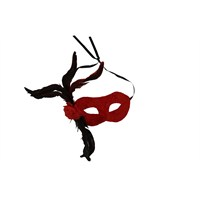 Kullan At Market Kırmızı Tüylü Balo Maskesi