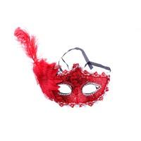 KullanAtMarket Kırmızı Tüylü Dantel Balo Maskesi