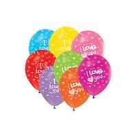 KullanAtMarket Kalp Baskılı I Love You Balon