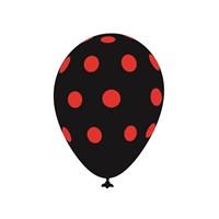 KullanAtMarket Kırmızı Puantiyeli Siyah Balon