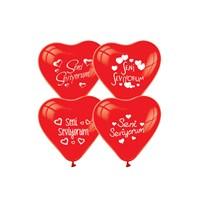 Kullan At Market Seni Seviyorum Baskılı Kırmızı Kalp Balon