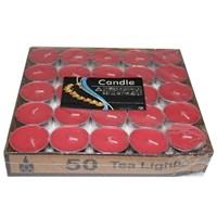 Pandoli Tea Light Mum Kırmızı Renk 50 Adet